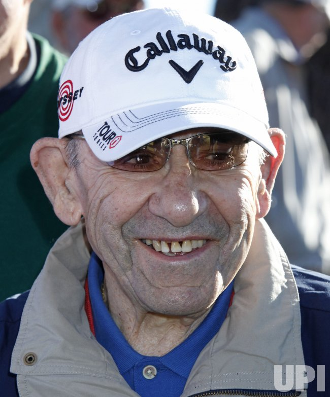 Yogi Berra arrives at the Bob Hope Classic Golf Pro-Am in La Quinta