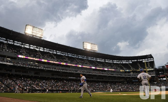 Storm clouds roll in at U.S. Cellular Field in Chicago