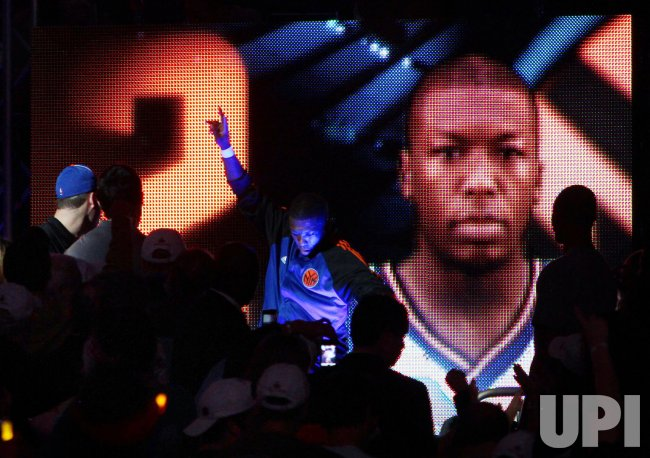 New York Knicks Nate Robinson is introduced before the game against the Philadelphia 76ers at Madison Square Garden in New York
