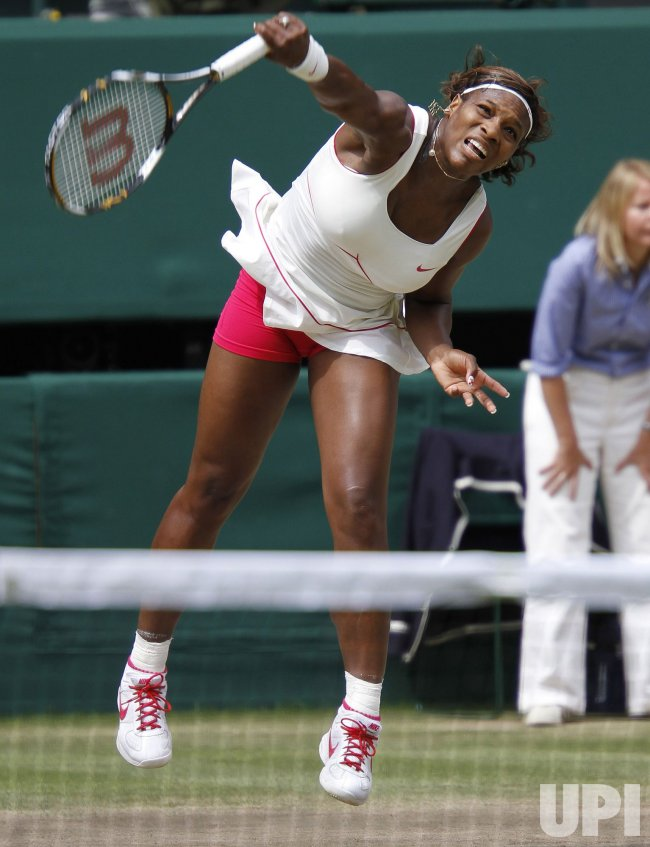 American Serena Williams plays against Russian Vera Zvonareva at the Wimbledon Championships