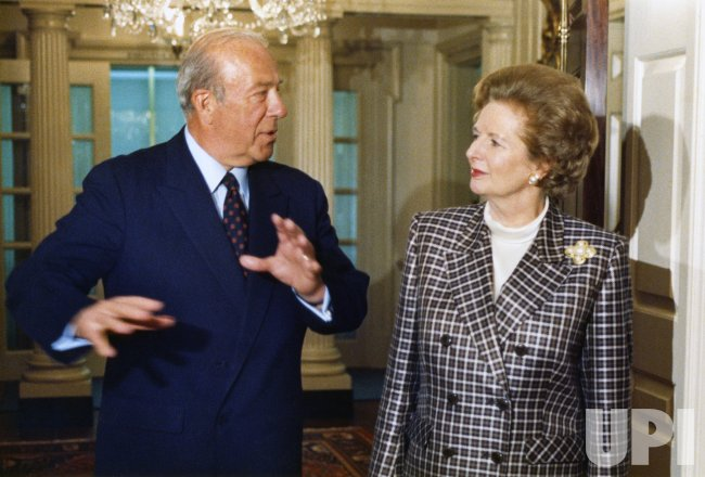 George Shultz and Margaret Thatcher