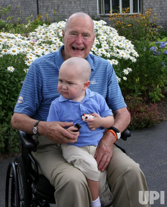 Former President George H.W. Bush Shaves Head