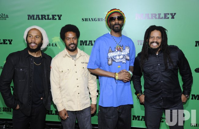 "Ziggy Marley, Robbie Marley, Snoop Dogg and Rohan Marley attend the premiere of the film ""Marley"" in Los Angeles"