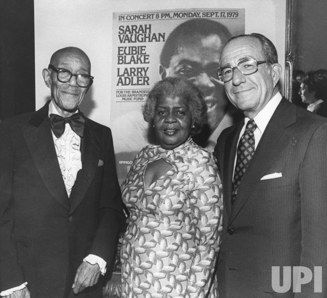 Mrs. Lucille Armstrong widow of jazz immortal Louis Armstrong with Eubie Blake and Merver H. Bernstein