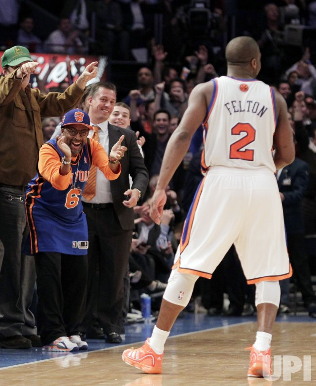 Spike Lee reacts when Raymond Felton hits a 3-point shot at Madison Square Garden in New York
