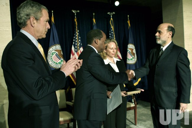 President Bush participates in swearing-in ceremony of Ben Bernanke as Fed Chairman