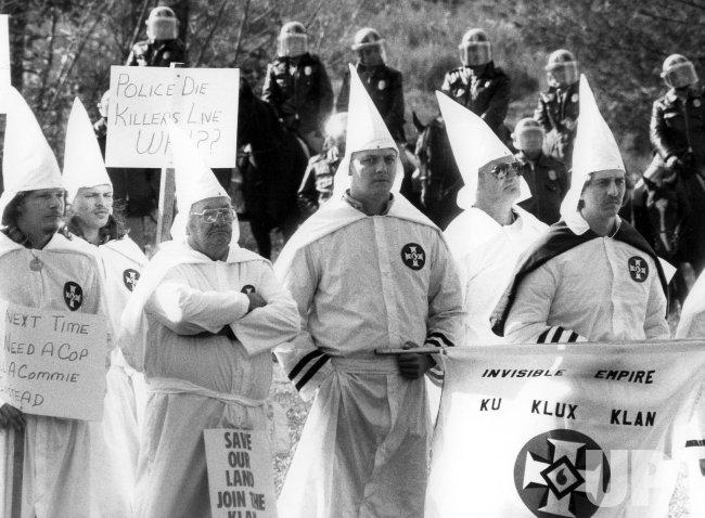 Ku Klux Klan members holding a rally outside Rockville, Maryland.