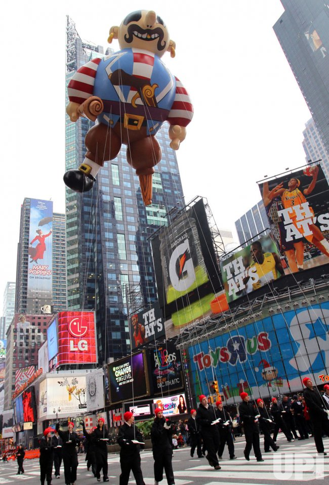 The Artie the Pirate Balloon floats down the parade route at the Macy's 83rd Thanksgiving Day Parade in New York