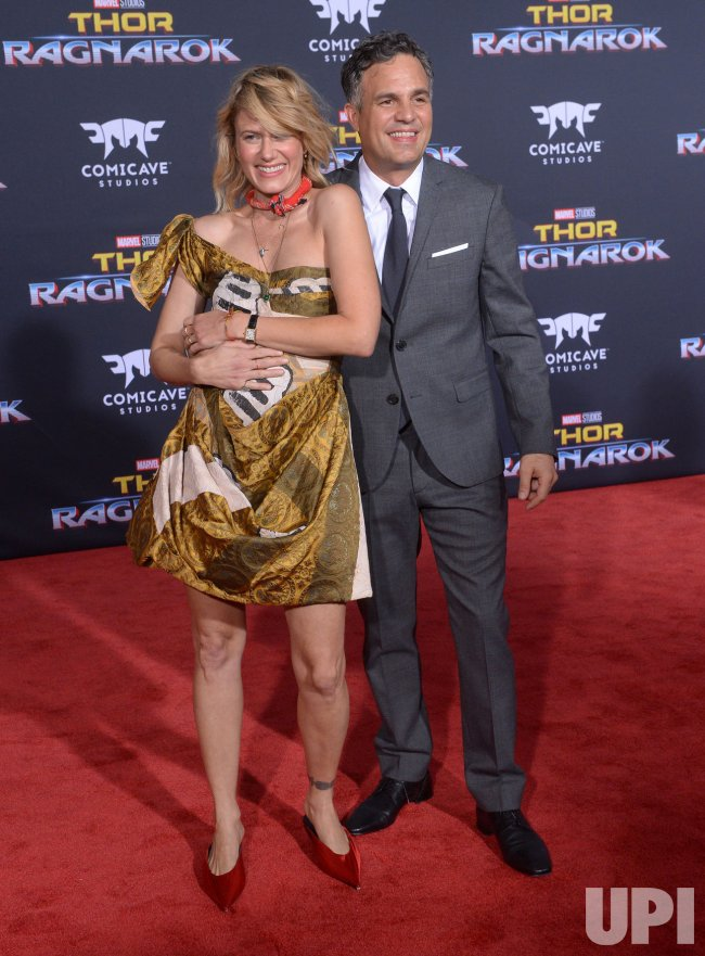 "Mark Ruffalo and Sunrise Coigney attend the ""Thor: Ragnarok"" premiere in Los Angeles"