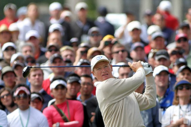 Ernie Els of South Africa tees off on the 9th hole on the final day of the U.S. Open in Pebble Beach, California
