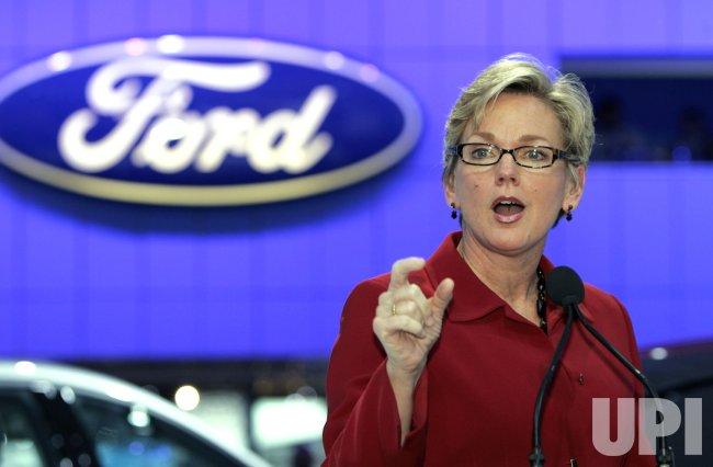 Ford Chairman William Ford Jr. and Michigan Gov Granholm speak at the 2010 NAIAS in Detroit, MI.