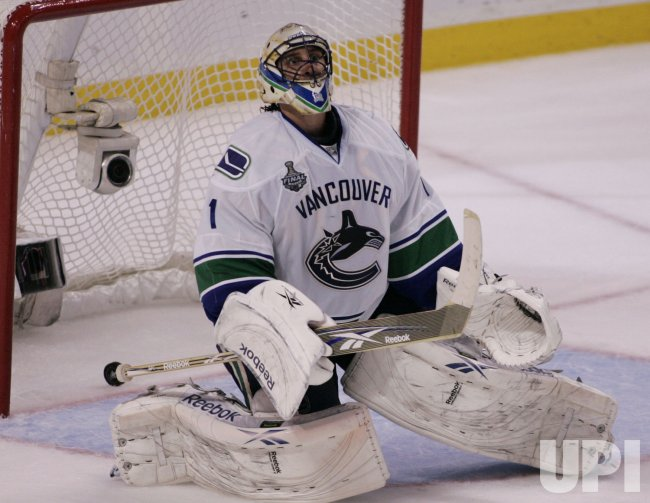 Canucks Luongo scored on in game 4 of the NHL Stanley Cup Finals in Boston, MA.
