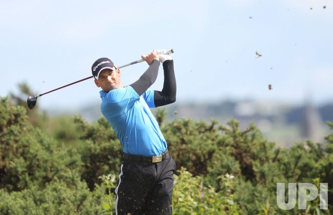 Garcia drives on the third day of the Open championship.