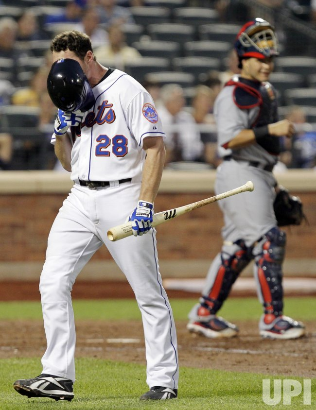 New York Mets Daniel Murphy reacts at Citi Field in New York