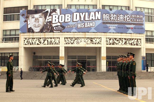 Bob Dyaln poster adorns concert hall in Beijing