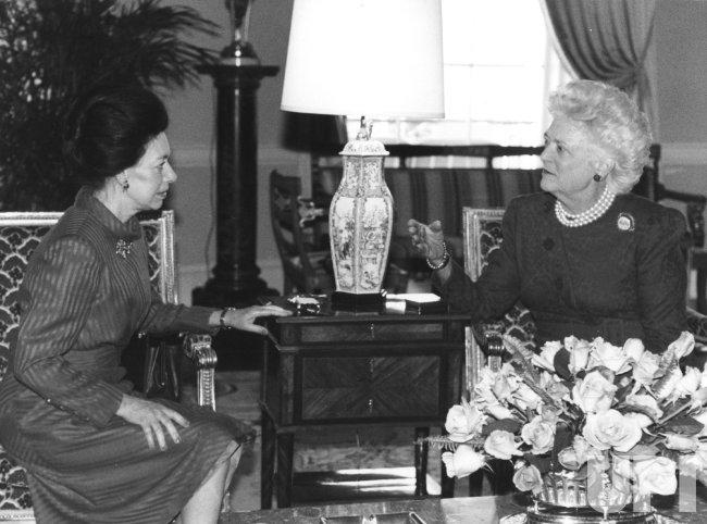 Barbara Bush and Princess Margaret Meet at the White House