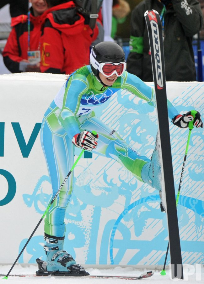 Slovenia's Tina Maze wins silver in the Women's Giant Slalom in Whistler