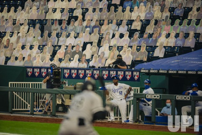 Royals Fan Cutouts Line the First Base Side Seats