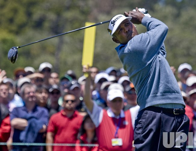 Vijay Singh of Fiji tees off on the 10th hole at the U.S. Open in Pebble Beach, California