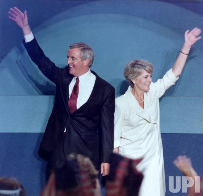 Geraldine Ferraro and Walter Mondale wave to the crowd at the 1984 Democratic National Convention