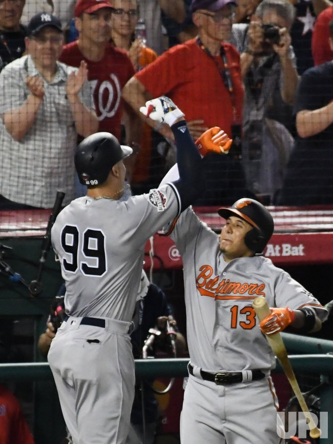 3aa6981dbd9 Yankees  Aaron Judge celebrates a solo home run during MLB s All-Star Game  in Washington