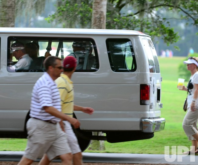 Ian Poulter is seen through window during the TPC Players in Florida