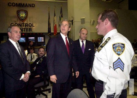 President George W Bush visits New York City's Police Command Center