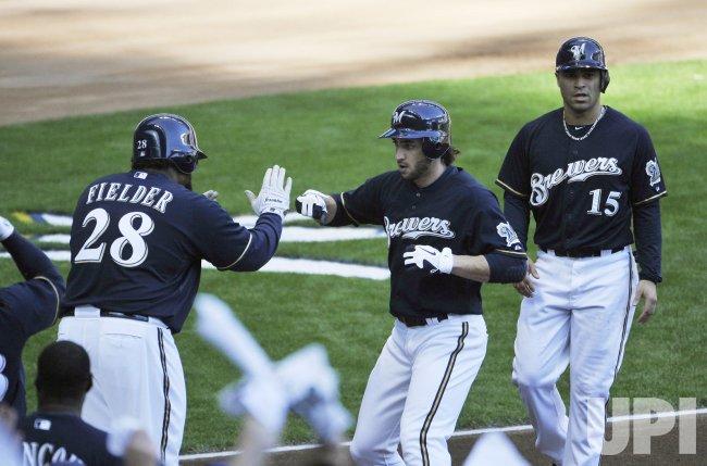 Brewers Braun, Fielder, Hairston Jr. home run during NLCS in Milwaukee, Wisconsin