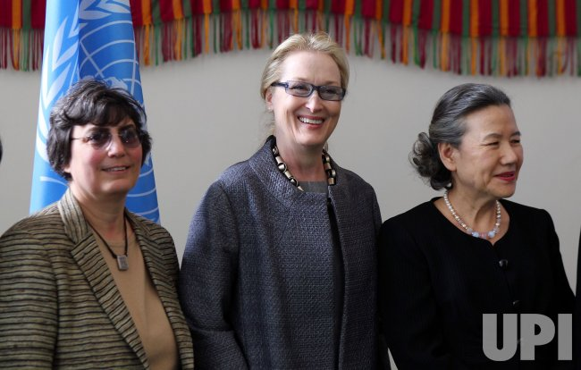 "Actress Meryl Streep (L) and Ban Soon-taek at the ""Women Can't Wait"" human rights event at the UN in New York"