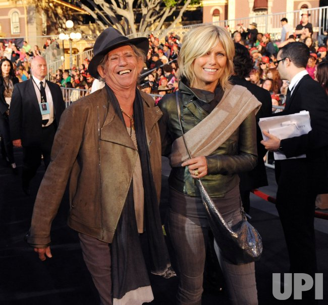 """Keith Richards and Patti Hansen attend the """"Pirates of the Caribbean: On Stranger Tides"""" premiere in Anaheim, California"""