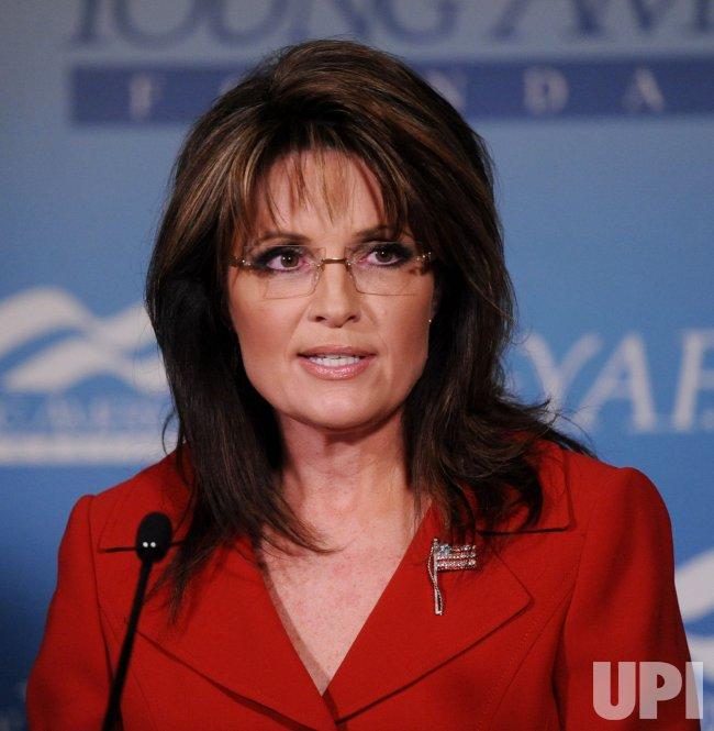 Sarah Palin speaks at dinner celebrating Ronald Reagan's centennial of his birth in Santa Barbara, California