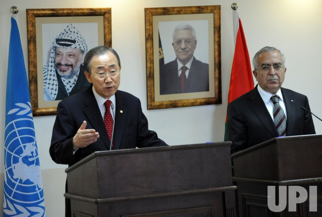 U.N. Secretary General Ban ki-Moon and Palestinian Prime Minister Salam Fayyad meet in Ramallah