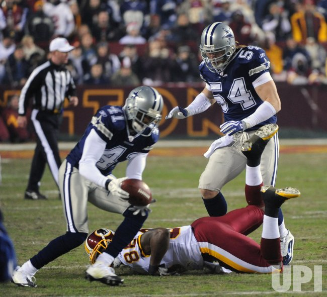 Redskins pass intercepted by Cowboys Newman in Landover, Maryland