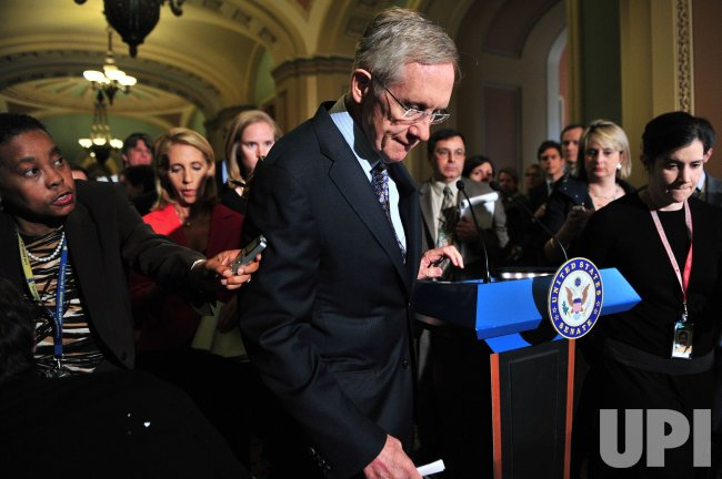 Sen. Harry Reid leaves a press conference on the 112th Congress in Washington