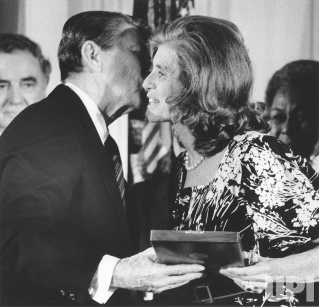 President Reagan Kisses Eunice Kennedy Shriver