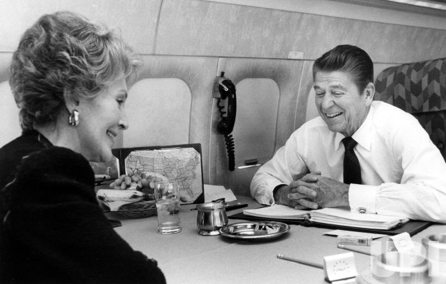 Ronald and Nancy Reagan Relax on Flight to Washington