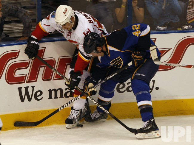 Calgary Flames Rene Bourque St. Louis Blues David Backes