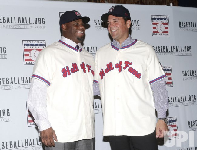 check out d083a d9d16 Mike Piazza and Ken Griffey Jr. wear there Hall of Fame ...