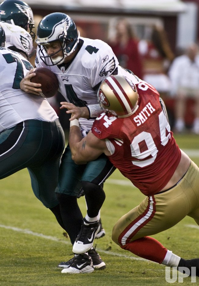 Eagles quarterback Kevin Kolb sacked by 49ers Justin Smith in San Francisco