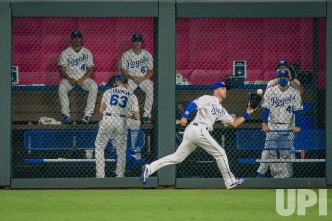 Royals Whit Merrifield Catches a Chicago White Sox Outfield Hit