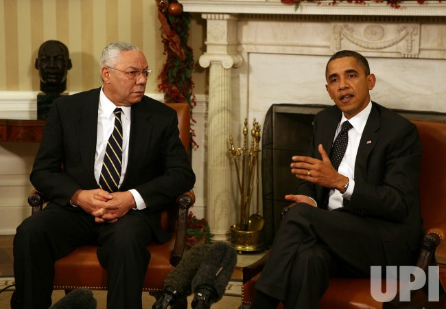President Obama meets with former Secretary of State Colin Powell in Washington