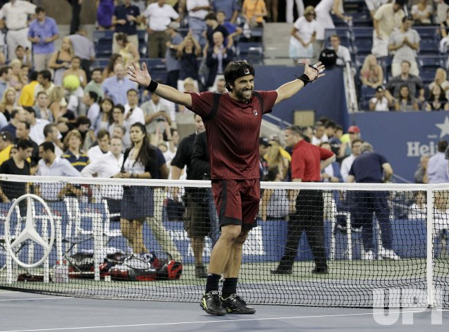 Janko Tipsarevic of Serbia defeats Andy Roddick at the U.S. Open Tennis Championships in New York