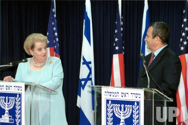 Israeli Prime Minister Barak and US Secretary of State Madeleine Albright meet in Jerusalem