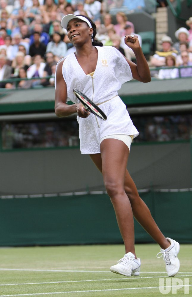 Venus Wiliams celebrates win at Wimbledon.