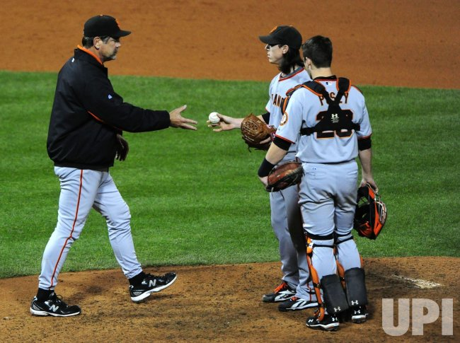 Giants' pitcher Tim Lincecum is taken out during game 6 of the NLCS in Philadelphia
