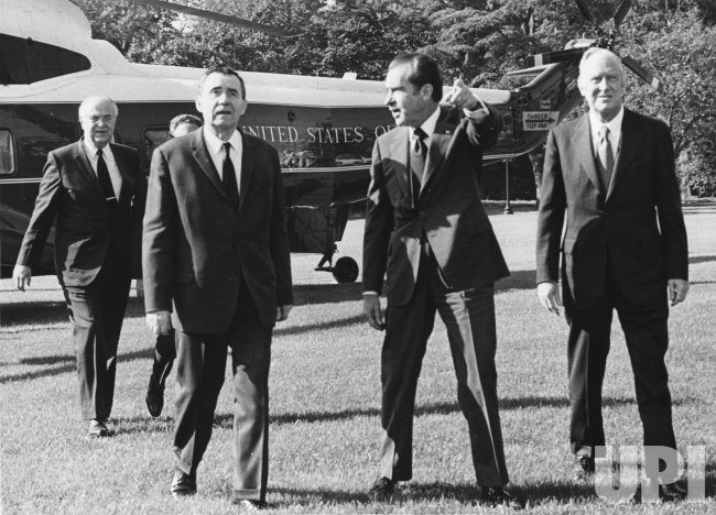 Andrei Gromyko arrives at the White House to sign arms limitations agreements with Pres. Nixon