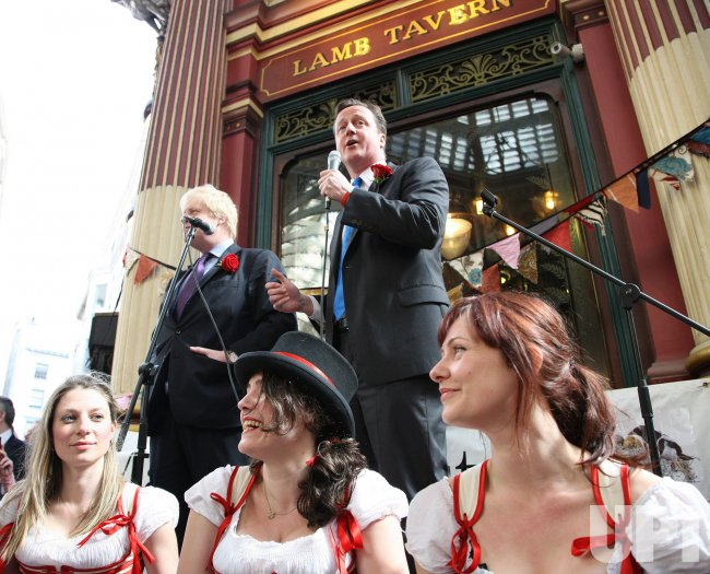Conservative Party leader Cameron and Mayor of London Johnson celebrate St. Georges
