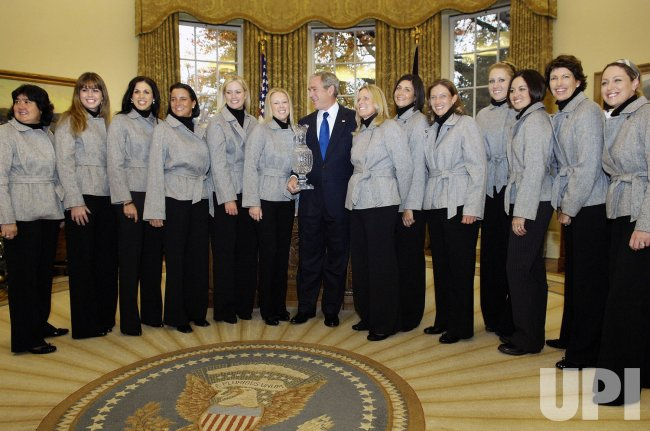 U.S. President Bush meets with U.S. Solheim Cup ladies golf team in Washington