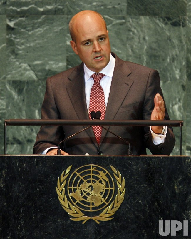 Fredrik Reinfeldt, Prime Minister of Sweden, speaks at the 64th United Nations General Assembly at the UN in New York