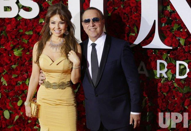 Thalia and Tommy Mottola at the 70th Annual Tony Awards